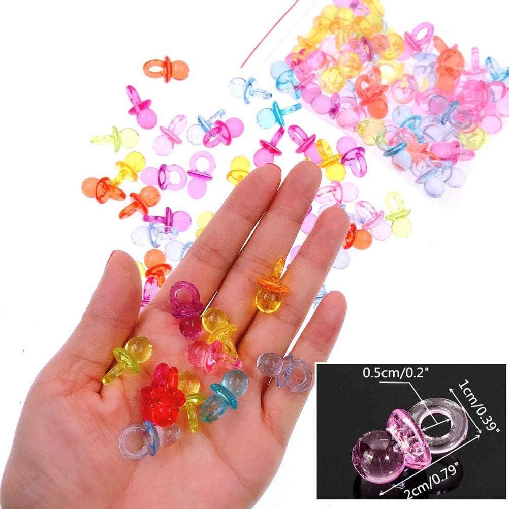EUFANCE 100 Piezas Mini Chupete Decorativo para la Fiesta de Bienvenida al beb/é Colorido Accesorio Colgante Decorativo 2 cm Hecho de acr/ílico