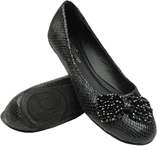 Women Ballet Flats Snake Print Beaded Bow Comfort Shoes BLACK