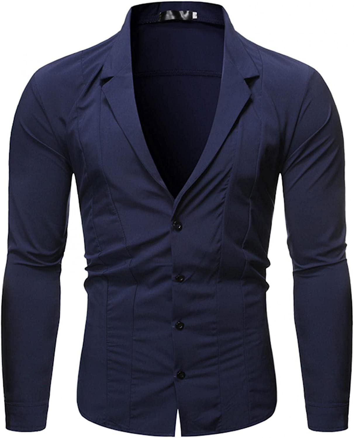 JSPOYOU Mens Business Dress Shirts Long Sleeve Button Down Casual Slim Fit Formal Office Design Shirts Jackets