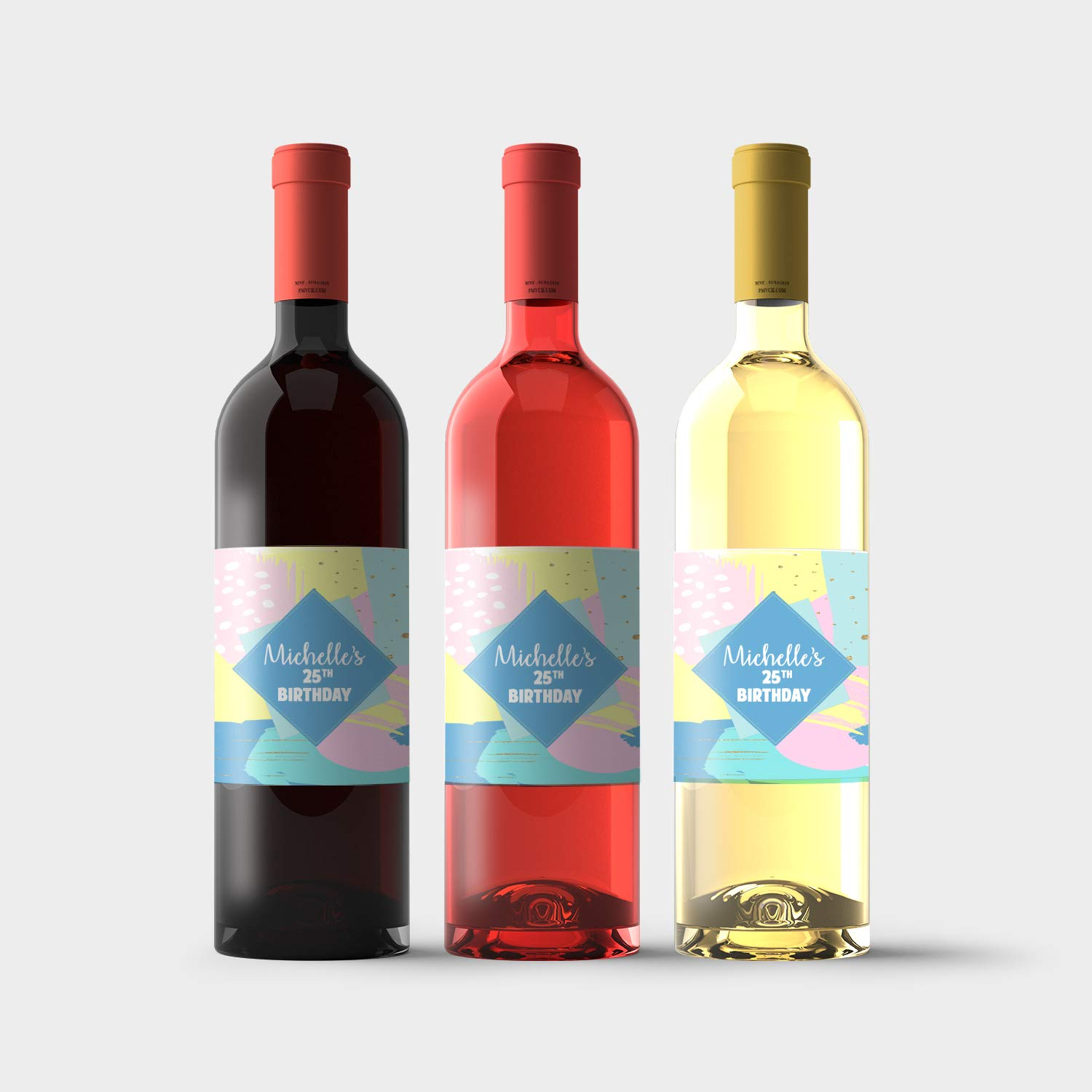 Ranking TOP4 Modern Pastel Birthday Personalized Labels Max 90% OFF Bottle Wine