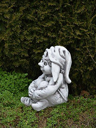 """Lustiger Gnom """"sitze hier und warte"""" aus Steinguss, frostfest - 4"""