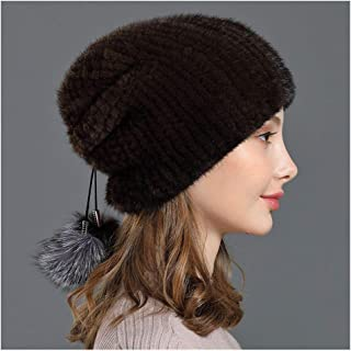 Ladies Knitted Hat, Real Mink Hair and Fox Fur Pom Pom Stretch Winter Warm Soft Beanie Hat Casual Fur Hat Trapper Hat for Cycling, Outdoor Ski Cap