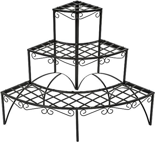 TecTake Etagère de Jardin pour Plantes escalier en Fer 3 Niveaux env. 60x60x60cm - Charge Max: env. 30 kg - diverses ...