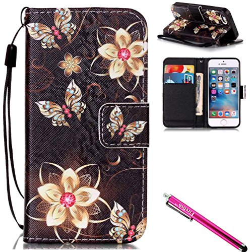 """iPhone 6S Plus Case, Firefish [Kickstand] PU Leather Flip Purse Case Slim Bumper Cover with Lanyard Magnetic Skin for Apple iPhone 6 Plus/6S Plus 5.5"""" + including One Stylus-Butterfly"""