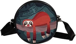 Coosun Faultier auf dem Baum, runde Umhängetasche, Schultertasche, Handtasche, Handtasche, Umhängetasche, Schultertasche f...