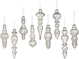 glasburg Mercury Silver Christmas Glass Drop Finial Ornament (9 Ornaments)