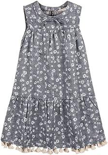 Baby Girls Dress Summer Sleeveless Flower Print Boho Party Dress Kids Pageant Dress Campus Dresses LBPSUUEW
