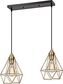 SEEBLEN 2- Light Indoor Island Pendant Light Gold Metal Hanging Ceiling Light Fixtures for Kitchen Kitchen Island Bar Dining Room Farmhouse Coffee Office