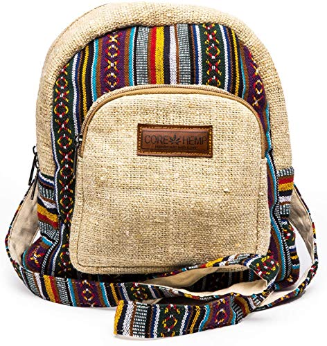 Core Hemp Mini Backpack - Handmade Boho Purse Made From Organic Hemp For Women & Girls - Colorful Hippy Bag With Two Compartments - Lightweight, Small Backpack (Multi-Colored)