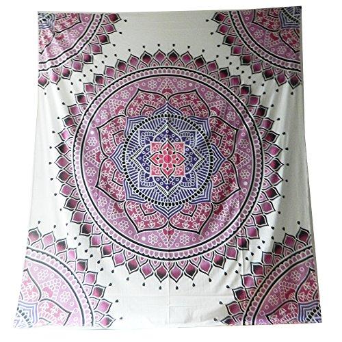 Couverture Indienne Tenture Mandala Floral Rose Blanc 230x210cm Coton Ameublement Décoration Textile Couvre-lit
