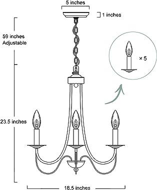 "KSANA Gold Chandelier, Modern 5 Lights Fixtures Hanging Pendant for Dining Room, Bedroom, Kitchen, W18.5"" x H23.5"""