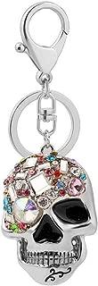 Skull Key Keychains 3D Creative Novelty Blings Crystal Skull Keyrings for Women Girl Charm Purse Handbag Gift