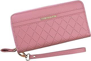 Fansport Double Zipper Long Clutch Wallet Pink Black Fashion Smartphone Wallet Portable Large Capacity Wristlet Zip Wallet...