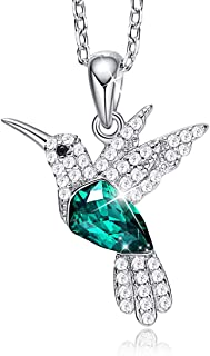 CDE Mothers Day Jewelry Gift Hummingbird S925 Sterling Silver Jewelry Set Pendant Necklace Pearl Earrings Set Embellished with Crystals from Swarovski Fine Jewelry for Women