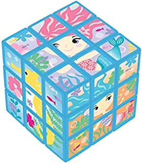 "Amscan 3900104 Mermaid Puzzle Cube, 1 1/8"" H x 1 1/8"" W x 1 1/8"" D, Multicolor"