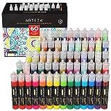 Arteza 3D Fabric Paint, Set of 60, Metallic & Glitter Colors, 1oz Tubes, Glow-in-The-Dark ...