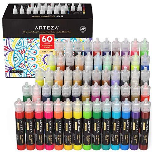 ARTEZA Colori per Tessuti Permanenti 3D, Set di 60 Tubetti da 29 ml, Colori Fluorescenti, Vivaci, Metallizzati e Glitter per Tessuti, per Abbigliamento, Accessori, Ceramica e Vetro
