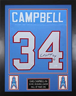 Earl Campbell Autographed Blue Oilers Jersey - Beautifully Matted and Framed - Hand Signed By Earl Campbell and Certified Authentic by JSA - Includes Certificate of Authenticity
