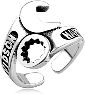 JAJAFOOK Jewelry Men's Silver Stainless Steel Biker Mechanic Wrench Tool Ring