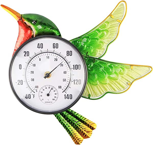 MUMTOP Thermometer Indoor Outdoor Patio Hummingbird Waterproof Wall Mounted Thermometer Does Not Require Any Battery