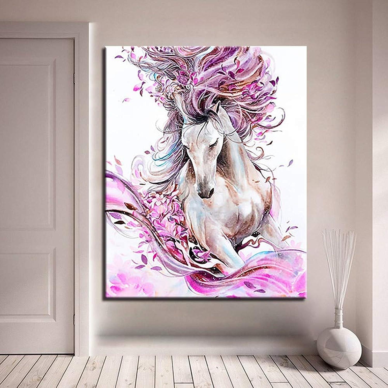 DIY Malen Malen Malen Nach Zahlen Hand Malen Abstrakte Pferd Tier Öl Bilder Rosa Blaume Kits Färbung Zeichnung Wohnzimmer Wohnkultur KEIN Rahmen, 50  65 cm B07KLZPBTW | Zuverlässiger Ruf  a7e0d6