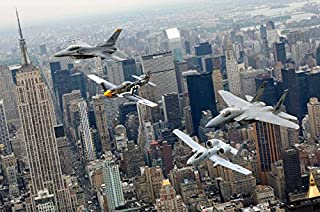 A P-51 Mustang an F-16 Fighting Falcon an F-15 Eagle and an A-10 Thunderbolt II fly over New York City Poster Print by Sto...