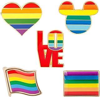 Shinmond 5 Styles LGBT Design Rainbow Creative Heart Yeh Finger Pin Brooch Metal Pins Badge Denim Enamel Lapel Jewelry Gif...