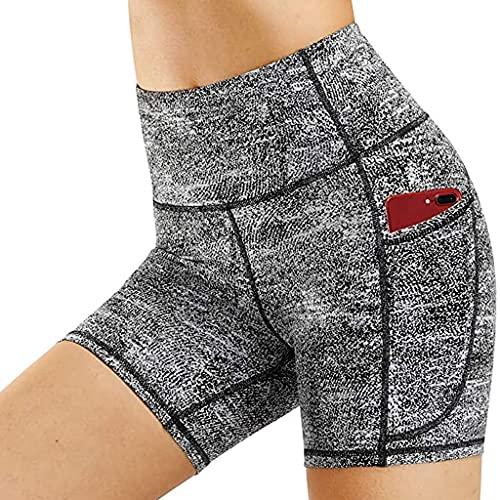 Mujer Corto Entrenamiento Correr Deporte Cintura Alta Yoga con Bolsillo Deslizante Control de Barriga para Ciclismo Bicicleta Pantalones Cortos Pantalones Talla S-XL, gris, XL