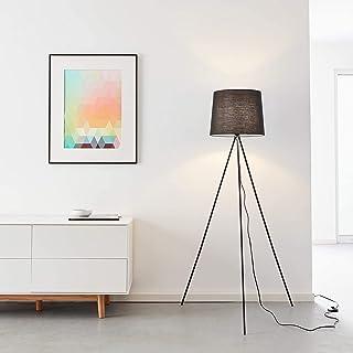 Lampadaire simple à trois pieds, 1 ampoule E27 max. 40 W en métal/textile noir.