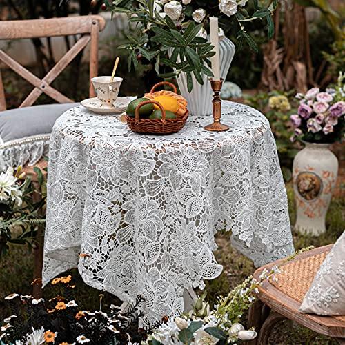 SUHETI Mantel de Encaje para Decoración de Bodas, Fiestas, Bordado de Flores, Lavable, Color Blanco,130x130cm