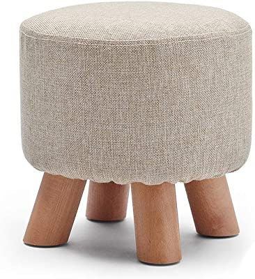 Solid Wood Legs Ottoman Stool Chair Folding Portable, Saves Space Indoor Rest (Color : F, Size : 29x28cm(11x11inch))