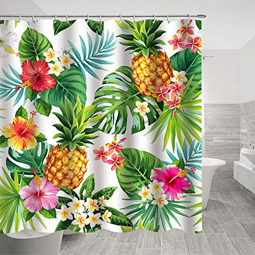 """Pineapple Shower Curtain Green Banana Leaf Bath Curtain Fabric Tropical Palm Leaves Shower Curtains 69""""X70""""inches with Shower Room Summer Pineapple Shower Curtain, Tropical Palm Leaves, Hawaiian"""