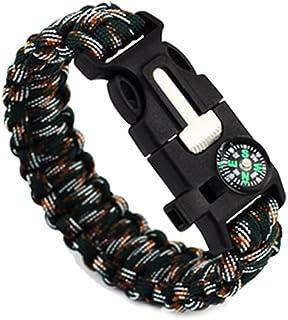 1Pcs 9 Multifunctional Paracord Bracelet Sahara Sailor Outdoor Survival Kit W Compass Flint Fire Starter Scraper Whistle For Hiking Camping Emergency More