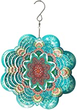 FONMY Stainless Steel Wind Spinner-3D Laser Cut Hand Painted with Color Sparkling Powders Indoor Outdoor Garden Decoration Crafts Ornaments 6Inch Multi Color Mandala Flower Wind Spinners
