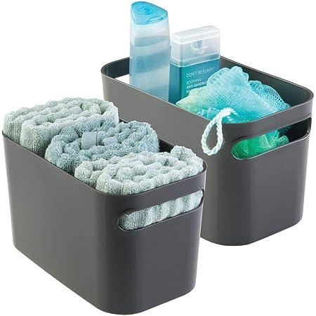mDesign boîte de rangement en plastique robuste – bac de rangement idéal pour produits de maquillage, flacons, accessoires, etc. – set de 2 – panier de rangement pratique – couleur : gris