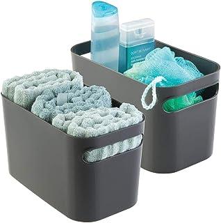 mDesign boîte de rangement en plastique robuste – bac de rangement idéal pour produits de maquillage, flacons, accessoire...