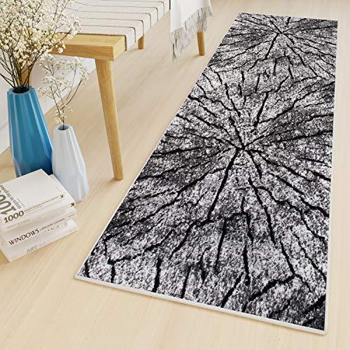Tapiso Luxury Teppich Läufer Meterware Flur Küche Kurzflor Korridor Schwarz Grau Brücke Baumstamm Modern Design ÖKOTEX 90 x 350 cm
