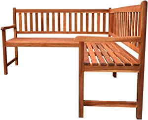 L-Shape Garden Corner Bench Wooden Solid Acacia Wood with Backrest Slats 5 Person Chair