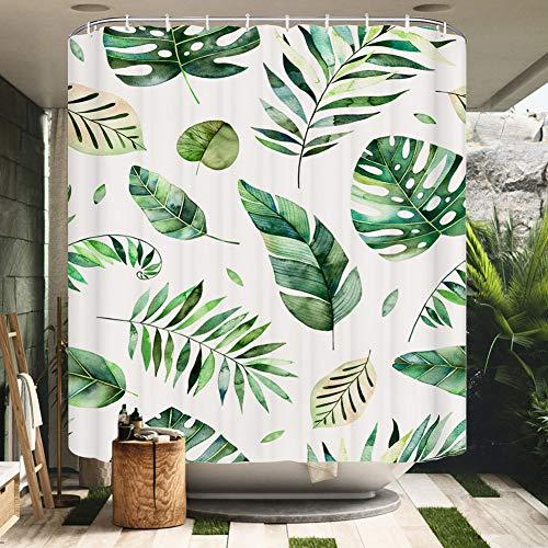 HALOVIE Duschvorhang, 180 x 200 cm, wasserdicht, schimmelfest, aus Polyestergewebe, 3D-Effekt, Badewanne, Gardinen mit 12 Haken, Duschvorhänge für Badezimmer & Haus