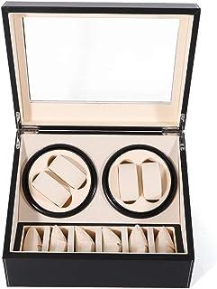 Automatic Watch Winder Display Box, 4+6 Automatic Rotation Leather Wood Watch Winder Storage Display Box Watch Case (US ST...