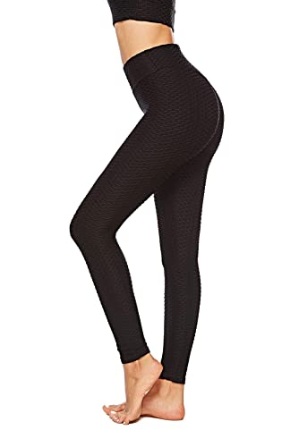 HLZKU Anti-Cellulite Compression Leggings, Women's High Waisted Yoga Pants Mesh Fat Burner Running Tights