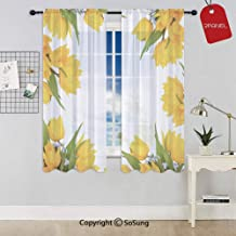 Abstract Frame Yellow Tulip and Blue Forget Me Knot Blooms Bouquets Decorative Rod Pocket Sheer Voile Window Curtain Panels for Kids Room,Kitchen,Living Room & Bedroom,2 Panels,Each 52x72 Inch,Mustar