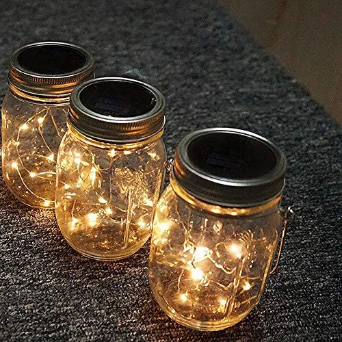 Decdeal 3 Pcs Lumières de Jardin Solaire LEDs Fée Étoilée Créative Fil De Cuivre Lampe Lampe LED De Jardin Eclairage Exterieur Solaire pour Jardin, Patio, Allée comme Décorations de Noël