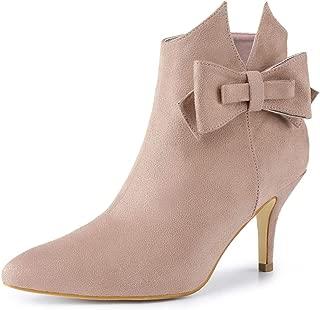 Allegra K Women's Point Toe Bow Stiletto Heel Ankle Boots