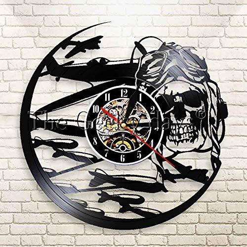 Fryymq (12 Pulgadas con LED) Reloj de Pared de piloto Esqueleto Piloto de azúcar Reloj de Disco de Vinilo Casco de piloto de Calavera Decoración de Pared de Moda
