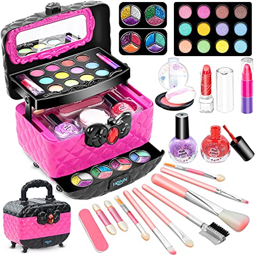 Hollyhi 41 Pcs Kids Makeup Toy Kit for Girls, Washable Makeup Set Toy with Real Cosmetic Case for Little Girl, Pretend Play Makeup Beauty Set Birthday Toys Gift for 3 4 5 6 7 8 9 10 Years Old Kid