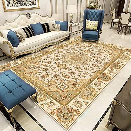 YQZS Moderner Design Kurzflor Teppich Loop Pile Carpet Beiger klassischer Druck Pflegeleichter und schmutzabweisender maschinenwaschbarer Teppich,100X200cm(39X79inch)