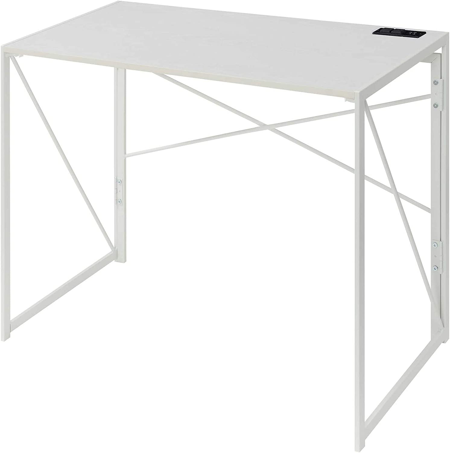 Convenience Concepts Xtra Folding Desk with Charging Station, White/White
