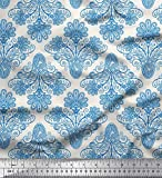 Soimoi Blau Kunstseide Stoff Wirbel u Paisley Stoff Drucke