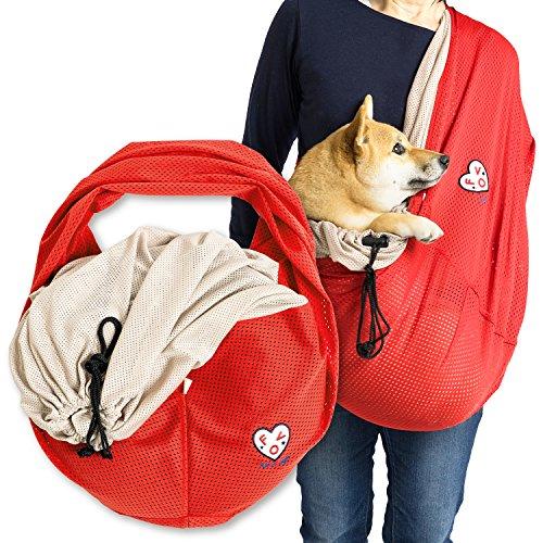 犬の服 full of vigor 元祖 ドッグスリング 中型犬用メッシュふた付抱っこだワン 中型 犬 猫用 抱っこ紐 抱っこひも 【日本製】カラー 3 アカ サイズ BS フルオブビガー